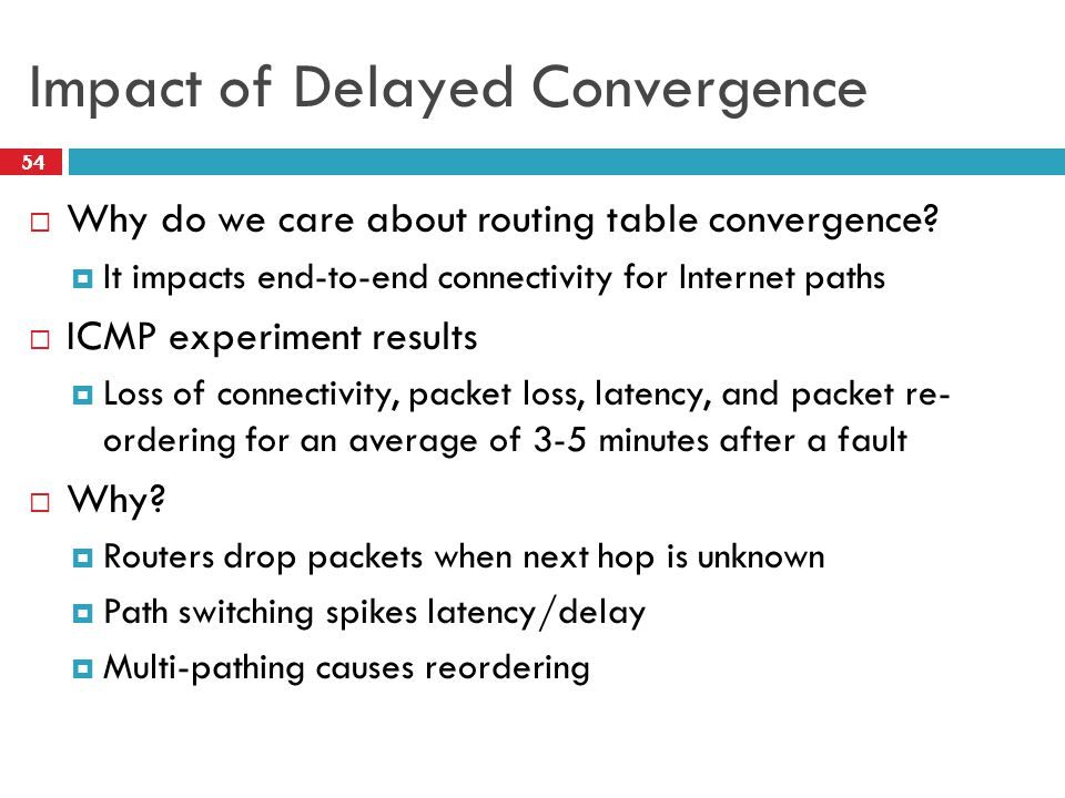 Impact of Delayed Convergence  Why do we care about routing table convergence.