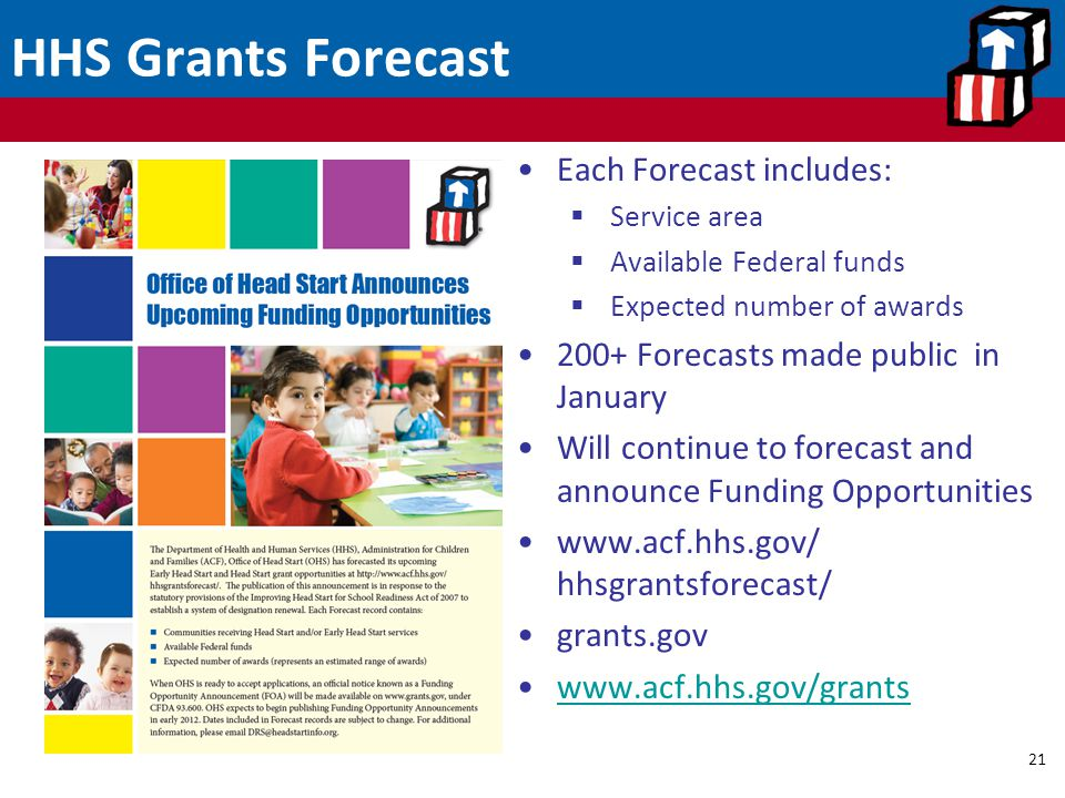 HHS Grants Forecast 21 Each Forecast includes:  Service area  Available Federal funds  Expected number of awards 200+ Forecasts made public in Janu
