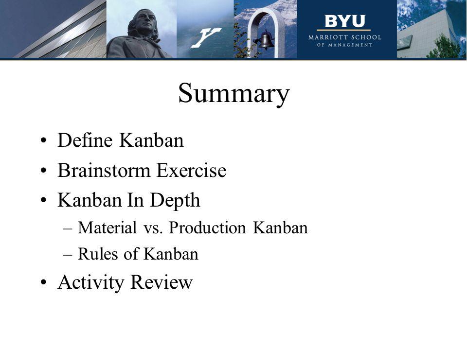 Summary Define Kanban Brainstorm Exercise Kanban In Depth –Material vs.