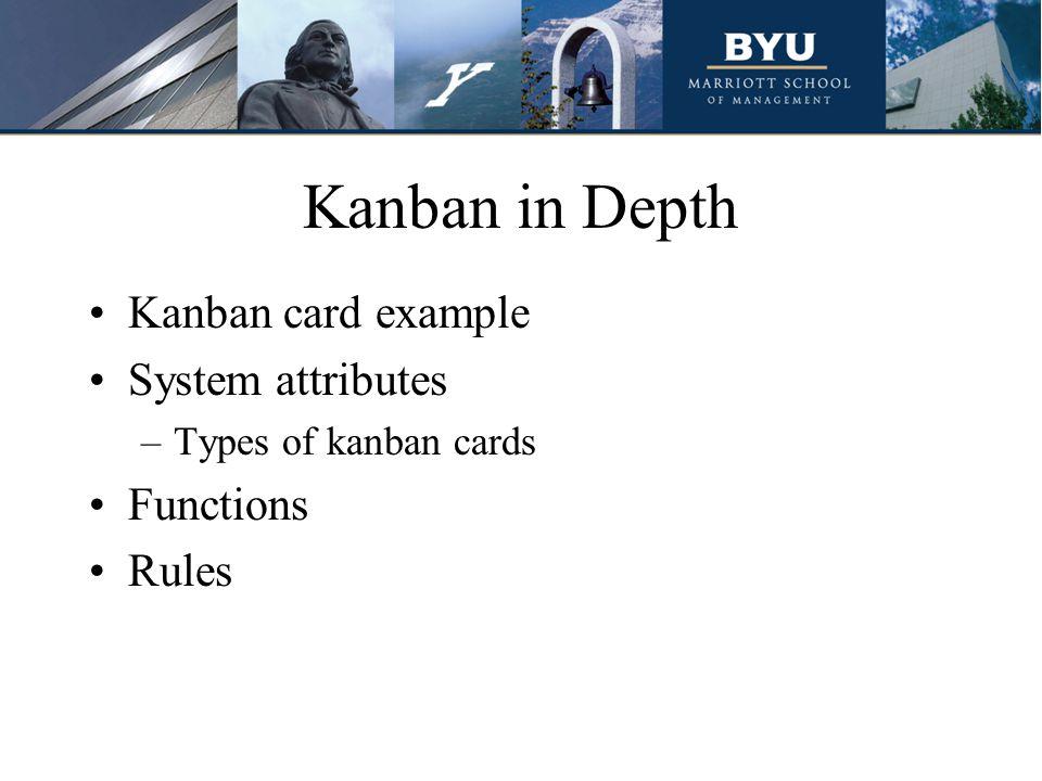 Kanban in Depth Kanban card example System attributes –Types of kanban cards Functions Rules