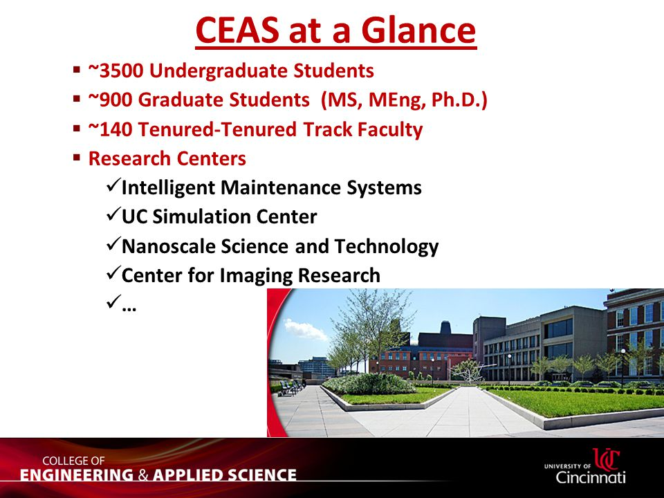 CEAS at a Glance  ~3500 Undergraduate Students  ~900 Graduate Students (MS, MEng, Ph.D.)  ~140 Tenured-Tenured Track Faculty  Research Centers Int
