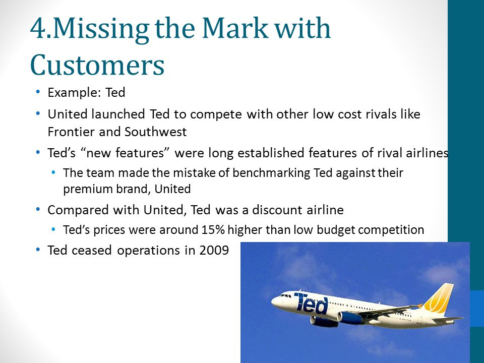 4.Missing the Mark with Customers Example: Ted United launched Ted to compete with other low cost rivals like Frontier and Southwest Ted's new features were long established features of rival airlines The team made the mistake of benchmarking Ted against their premium brand, United Compared with United, Ted was a discount airline Ted's prices were around 15% higher than low budget competition Ted ceased operations in 2009