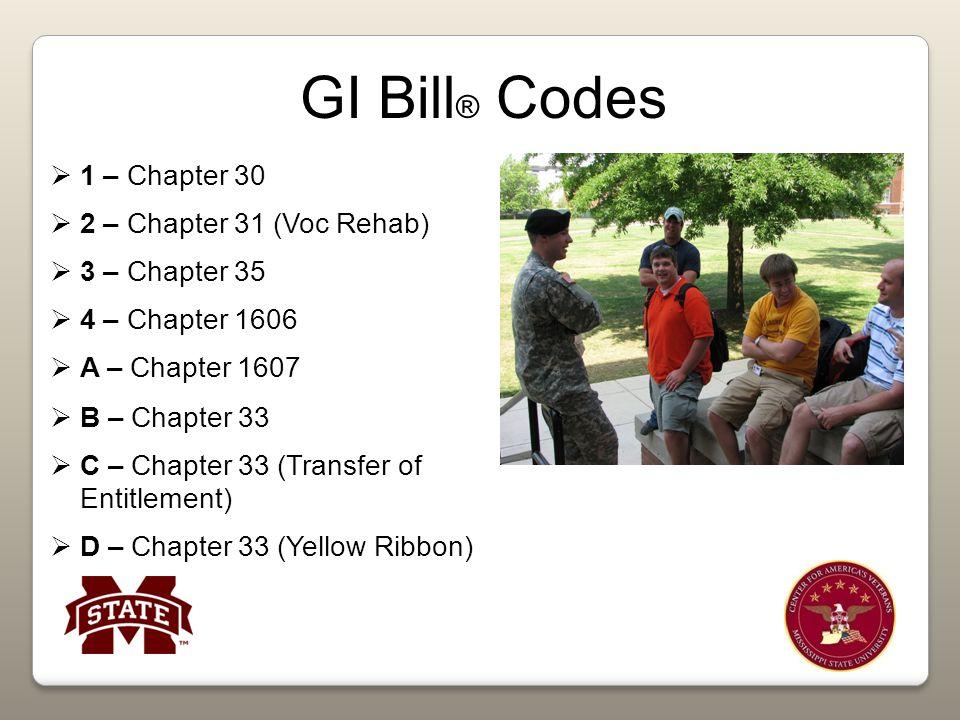 GI Bill ® Codes  1 – Chapter 30  2 – Chapter 31 (Voc Rehab)  3 – Chapter 35  4 – Chapter 1606  A – Chapter 1607  B – Chapter 33  C – Chapter 33 (Transfer of Entitlement)  D – Chapter 33 (Yellow Ribbon)