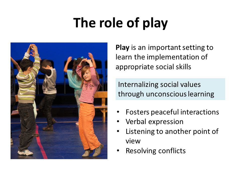 The role of play Play is an important setting to learn the implementation of appropriate social skills Internalizing social values through unconscious learning Fosters peaceful interactions Verbal expression Listening to another point of view Resolving conflicts