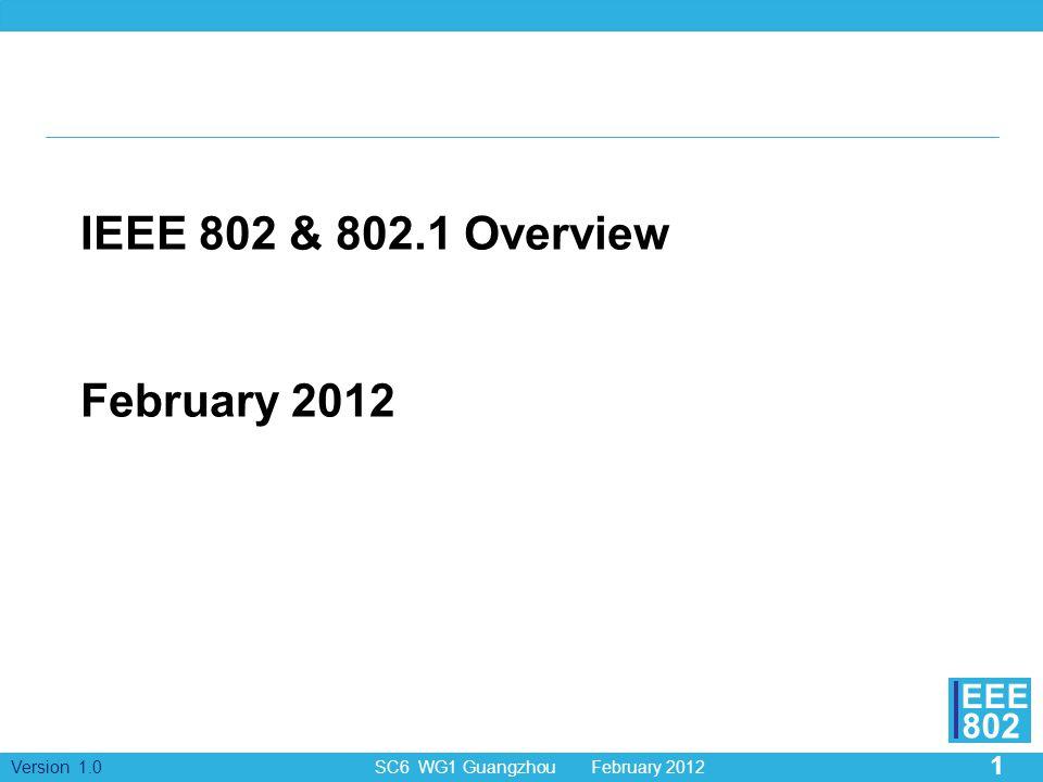 1 Version 1.0 SC6 WG1 Guangzhou February 2012 EEE 802 IEEE 802 & 802.1 Overview February 2012