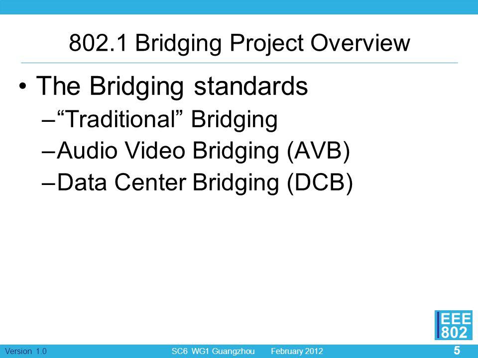 5 Version 1.0 SC6 WG1 Guangzhou February 2012 EEE 802 802.1 Bridging Project Overview The Bridging standards – Traditional Bridging –Audio Video Bridging (AVB) –Data Center Bridging (DCB)