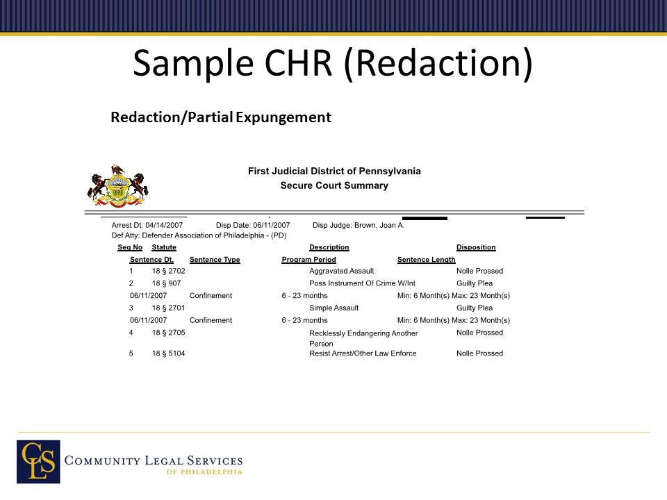 Sample CHR (Redaction) Redaction/Partial Expungement