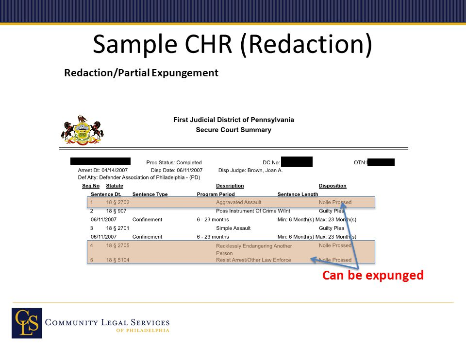 Sample CHR (Redaction) Redaction/Partial Expungement Can be expunged