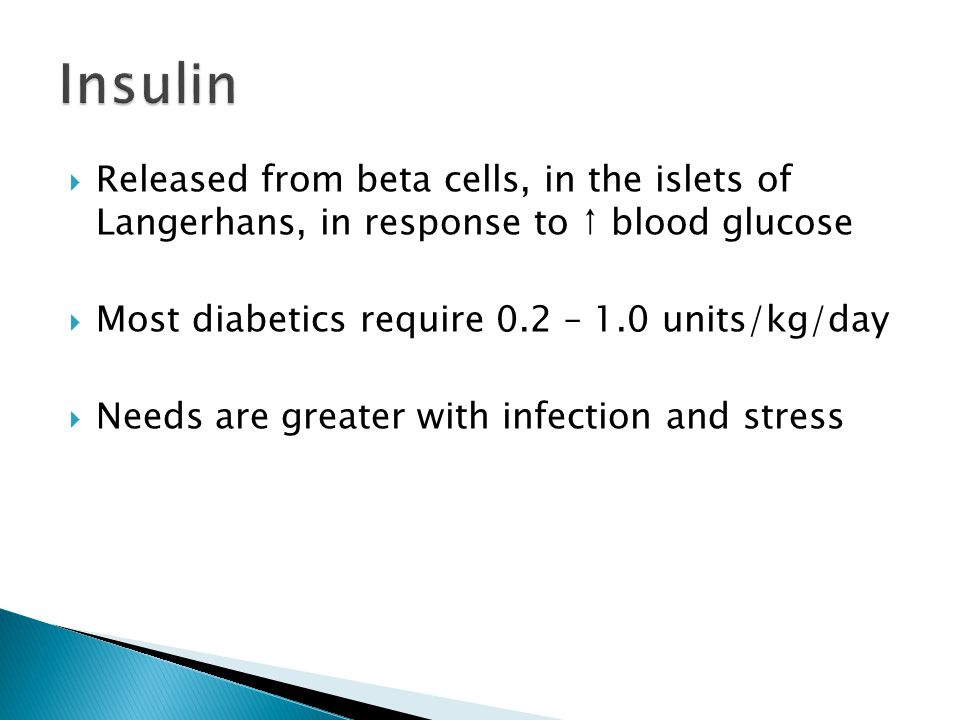  Released from beta cells, in the islets of Langerhans, in response to ↑ blood glucose  Most diabetics require 0.2 – 1.0 units/kg/day  Needs are gr