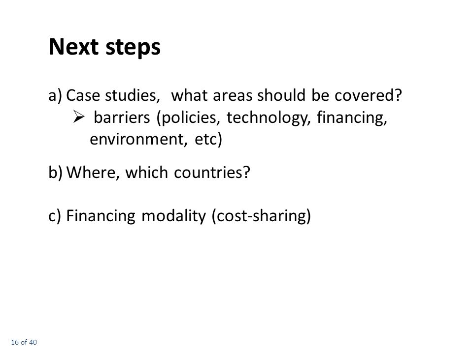 16 of 40 a)Case studies, what areas should be covered.