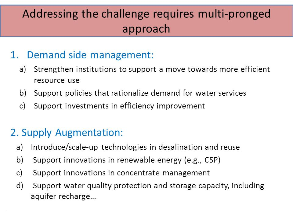 9 of 40 Addressing the challenge requires multi-pronged approach 1.Demand side management: a)Strengthen institutions to support a move towards more efficient resource use b)Support policies that rationalize demand for water services c)Support investments in efficiency improvement 2.
