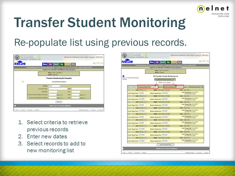 Transfer Student Monitoring Re-populate list using previous records.