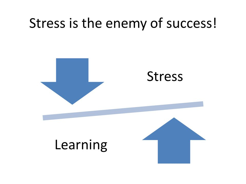 Stress is the enemy of success! Stress Learning