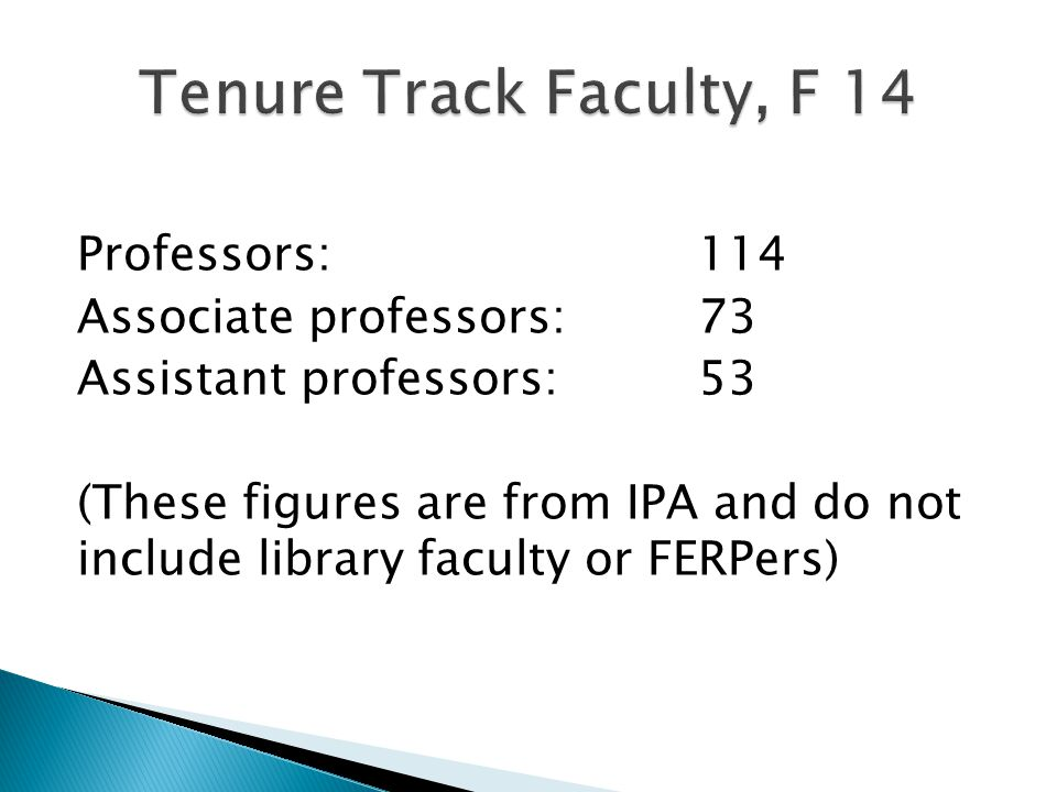 Professors:114 Associate professors:73 Assistant professors:53 (These figures are from IPA and do not include library faculty or FERPers)