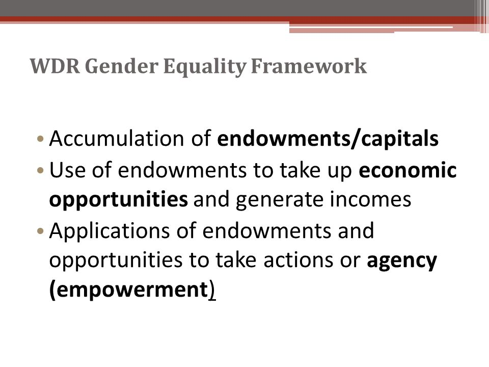 WDR Gender Equality Framework Accumulation of endowments/capitals Use of endowments to take up economic opportunities and generate incomes Applications of endowments and opportunities to take actions or agency (empowerment)