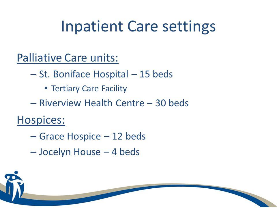 Inpatient Care settings Palliative Care units: – St.