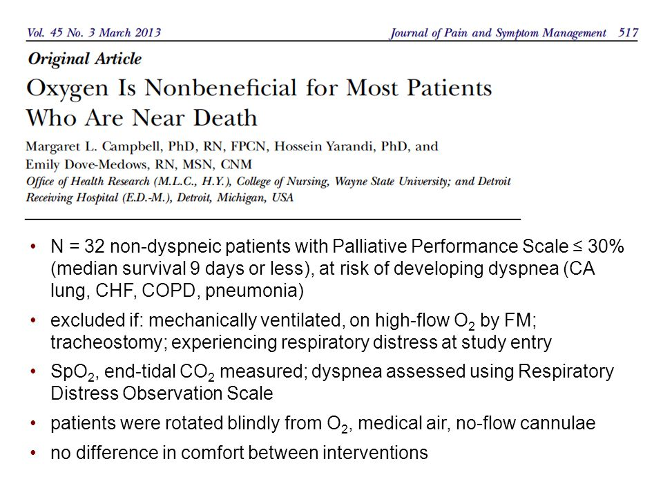 N = 32 non-dyspneic patients with Palliative Performance Scale ≤ 30% (median survival 9 days or less), at risk of developing dyspnea (CA lung, CHF, COPD, pneumonia) excluded if: mechanically ventilated, on high-flow O 2 by FM; tracheostomy; experiencing respiratory distress at study entry SpO 2, end-tidal CO 2 measured; dyspnea assessed using Respiratory Distress Observation Scale patients were rotated blindly from O 2, medical air, no-flow cannulae no difference in comfort between interventions
