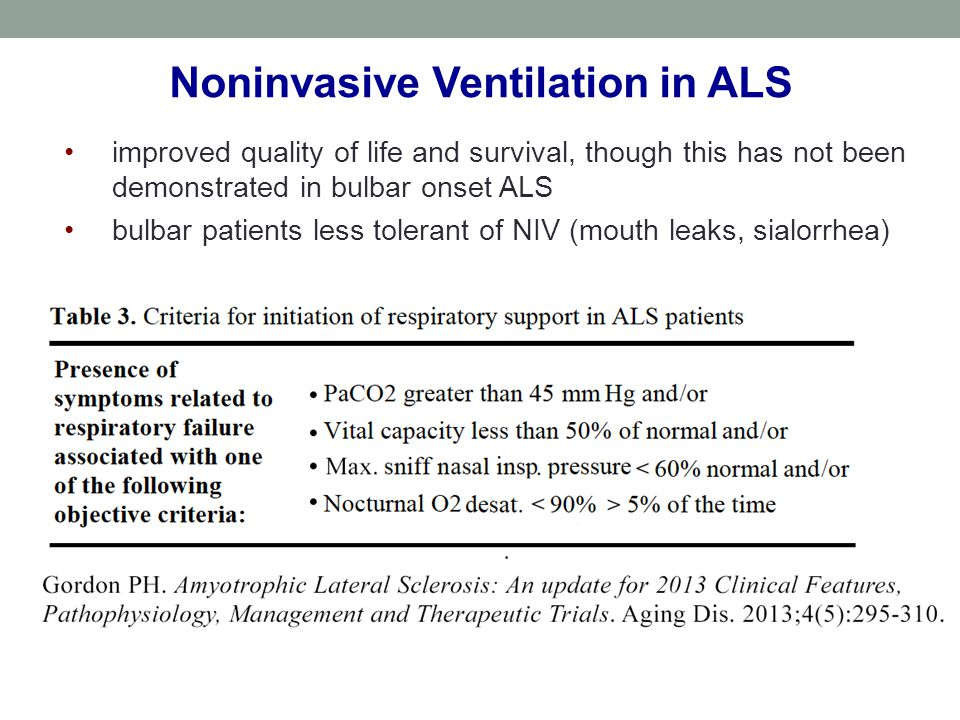 improved quality of life and survival, though this has not been demonstrated in bulbar onset ALS bulbar patients less tolerant of NIV (mouth leaks, si