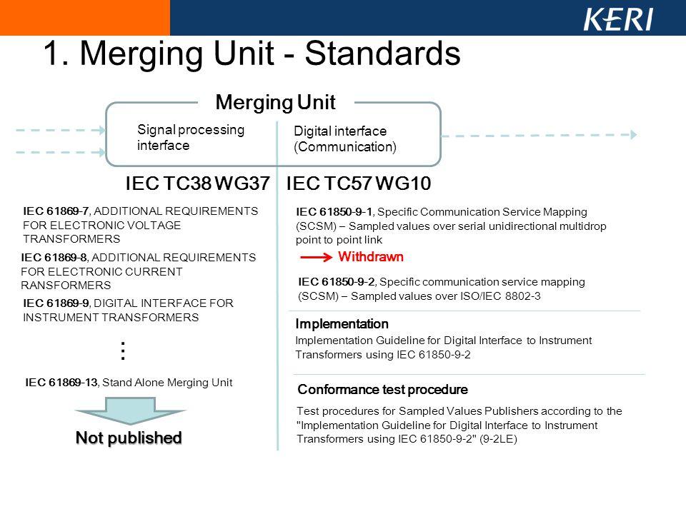 1. Merging Unit - Standards Merging Unit Signal processing interface Digital interface (Communication) IEC TC38 WG37IEC TC57 WG10 IEC 61869-7, ADDITIO
