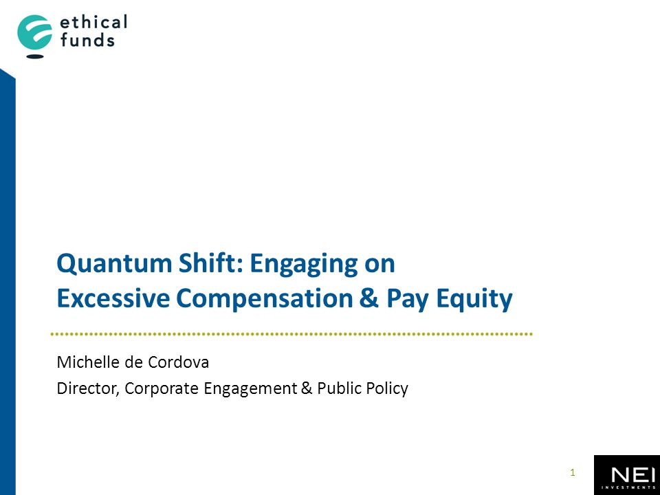 Quantum Shift: Engaging on Excessive Compensation & Pay Equity Michelle de Cordova Director, Corporate Engagement & Public Policy 1
