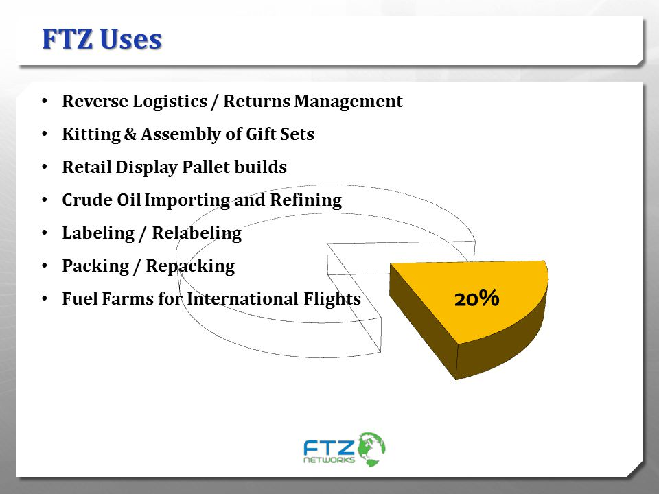 FTZ Uses Reverse Logistics / Returns Management Kitting & Assembly of Gift Sets Retail Display Pallet builds Crude Oil Importing and Refining Labeling
