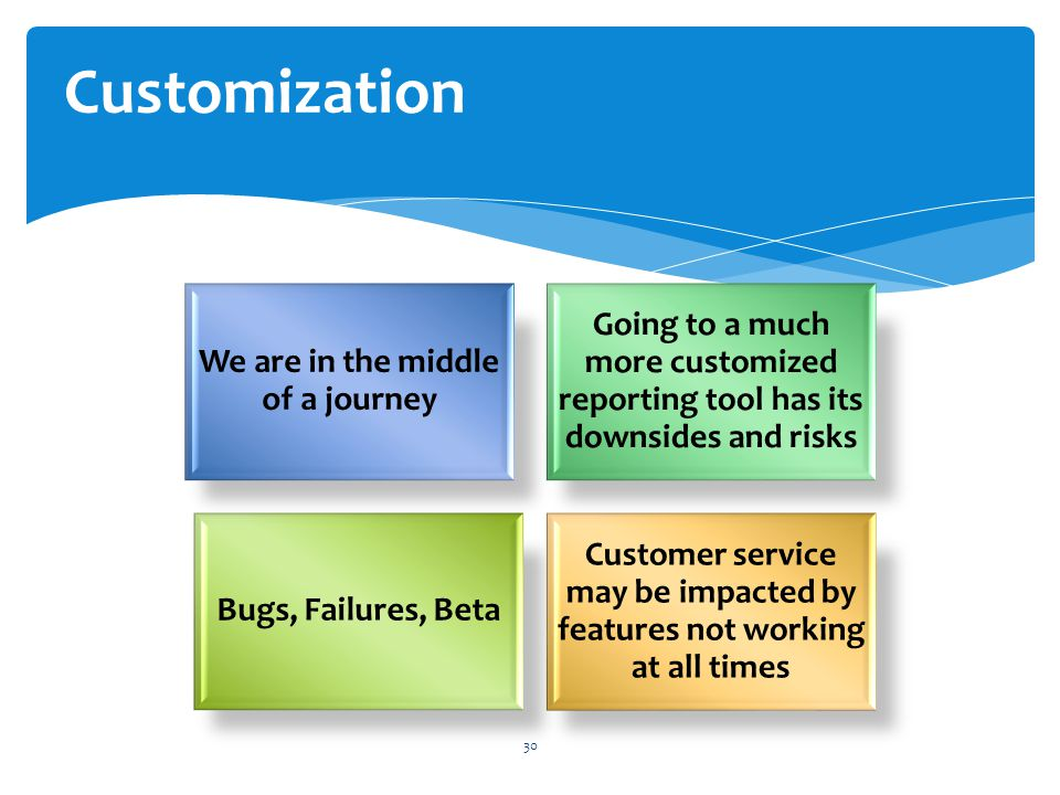 We are in the middle of a journey Going to a much more customized reporting tool has its downsides and risks Bugs, Failures, Beta Customer service may be impacted by features not working at all times 30 Customization