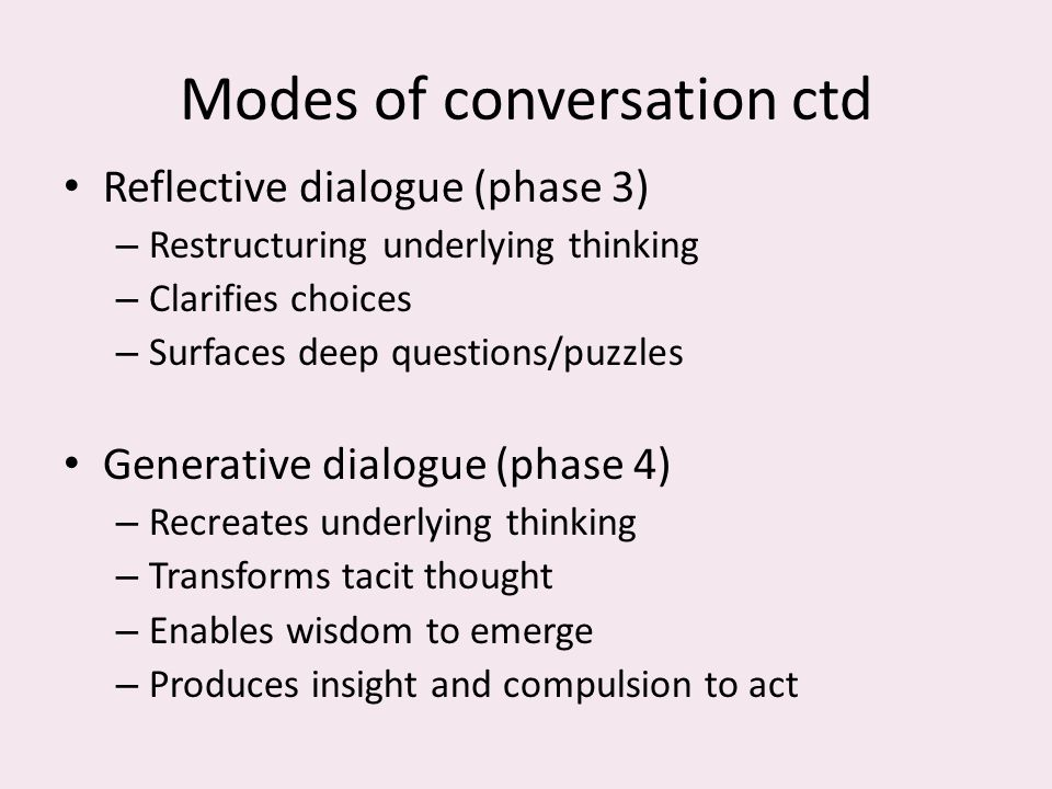 Modes of conversation ctd Reflective dialogue (phase 3) – Restructuring underlying thinking – Clarifies choices – Surfaces deep questions/puzzles Generative dialogue (phase 4) – Recreates underlying thinking – Transforms tacit thought – Enables wisdom to emerge – Produces insight and compulsion to act
