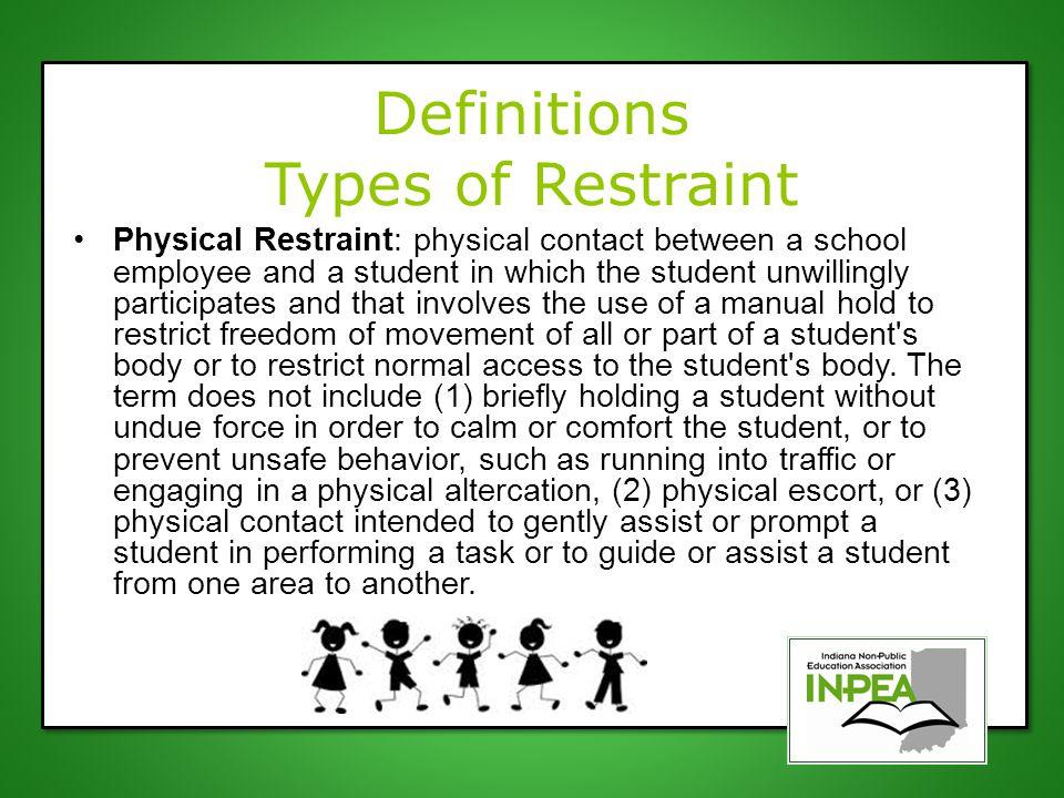Definitions Types of Restraint Physical Restraint: physical contact between a school employee and a student in which the student unwillingly participa