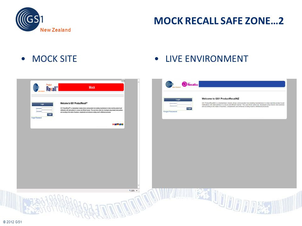 © 2012 GS1 New Zealand MOCK RECALL SAFE ZONE…2 MOCK SITELIVE ENVIRONMENT