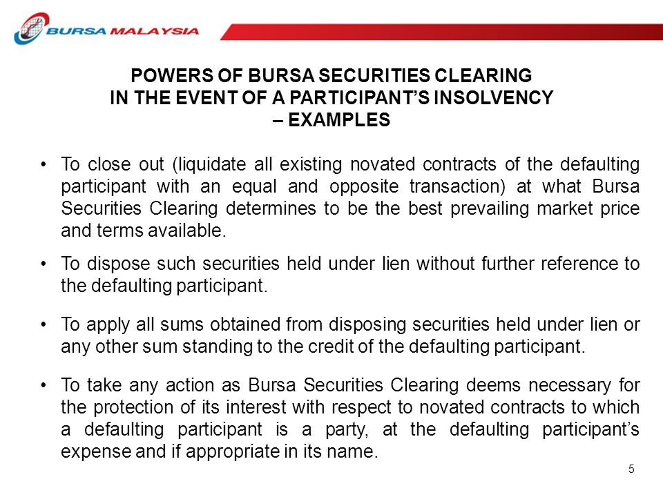 POWERS OF BURSA SECURITIES CLEARING IN THE EVENT OF A PARTICIPANT'S INSOLVENCY – EXAMPLES To close out (liquidate all existing novated contracts of th