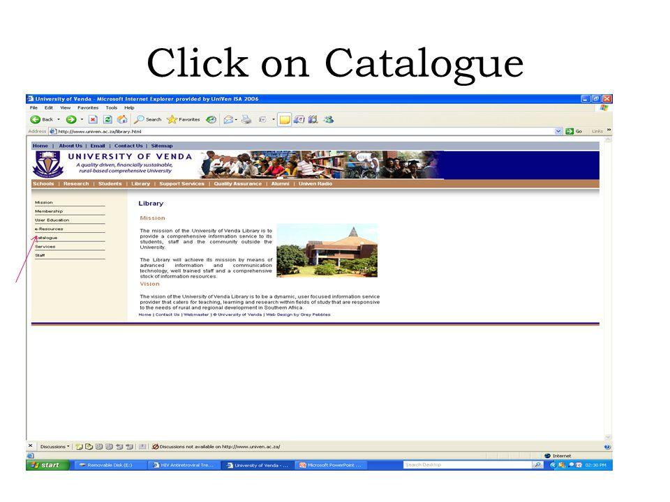 Click on Catalogue
