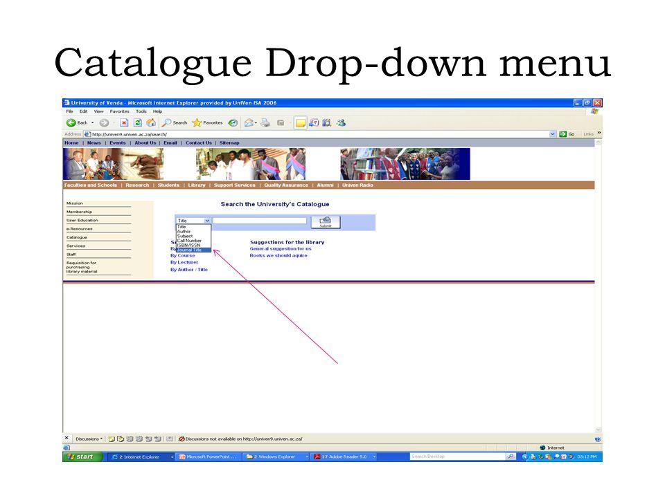 Catalogue Drop-down menu