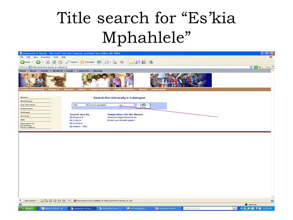 Title search for Es'kia Mphahlele