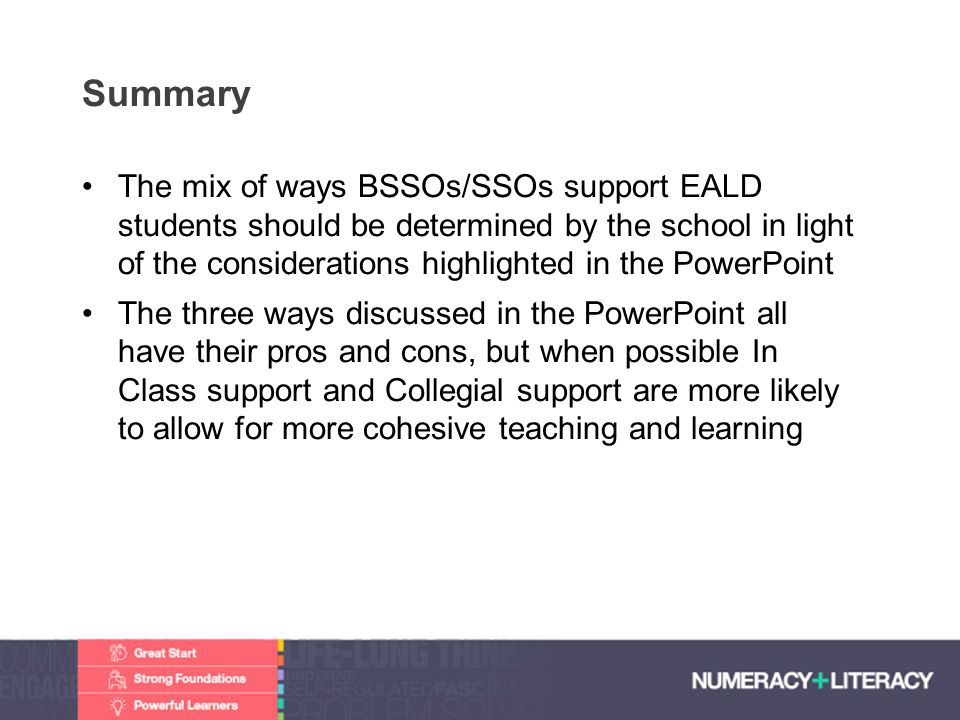Faculty of Edit this on the Slide MasterThe University of Adelaide Summary The mix of ways BSSOs/SSOs support EALD students should be determined by th