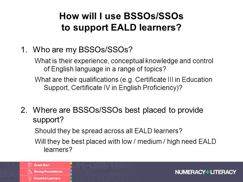 Faculty of Edit this on the Slide MasterThe University of Adelaide How will I use BSSOs/SSOs to support EALD learners? 1.Who are my BSSOs/SSOs? What i