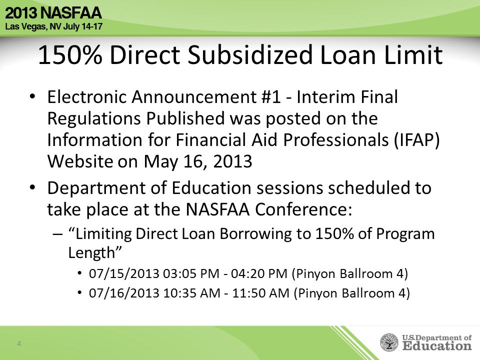 150% Direct Subsidized Loan Limit Limiting Direct Loan Borrowing to 150% of Program Length will be implemented on NSLDS in several phases: – Identifying First-Time Borrowers – Tracking Subsidized Usage Periods for First-Time borrowers – Calculating Maximum Eligibility Periods – Determining Loss of Subsidy Implementation dates of phases will overlap 5