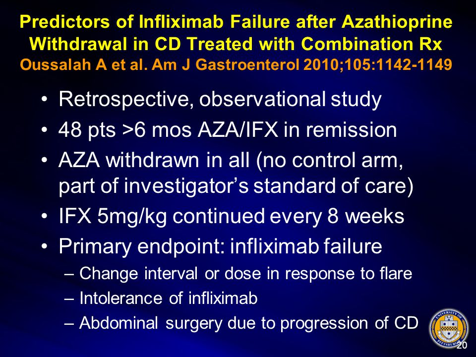 Predictors of Infliximab Failure after Azathioprine Withdrawal in CD Treated with Combination Rx Oussalah A et al. Am J Gastroenterol 2010;105:1142-11