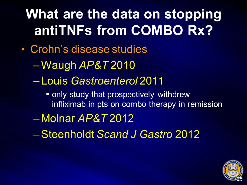 What are the data on stopping antiTNFs from COMBO Rx? Crohn's disease studies –Waugh AP&T 2010 –Louis Gastroenterol 2011  only study that prospective