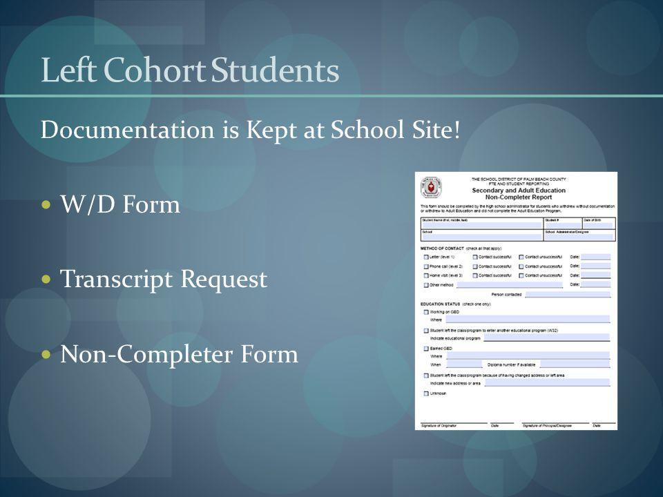 Left Cohort Students Documentation is Kept at School Site.