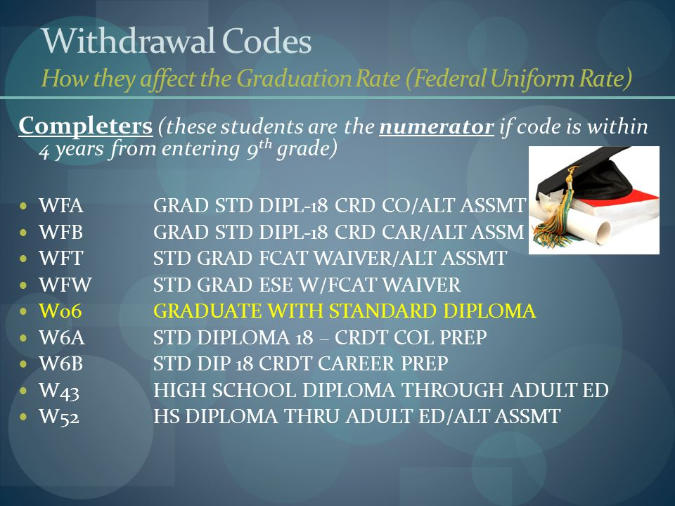 Withdrawal Codes How they affect the Graduation Rate (Federal Uniform Rate) Completers (these students are the numerator if code is within 4 years fro