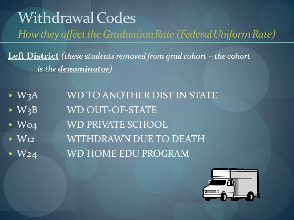 Withdrawal Codes How they affect the Graduation Rate (Federal Uniform Rate) Left District (these students removed from grad cohort – the cohort is the