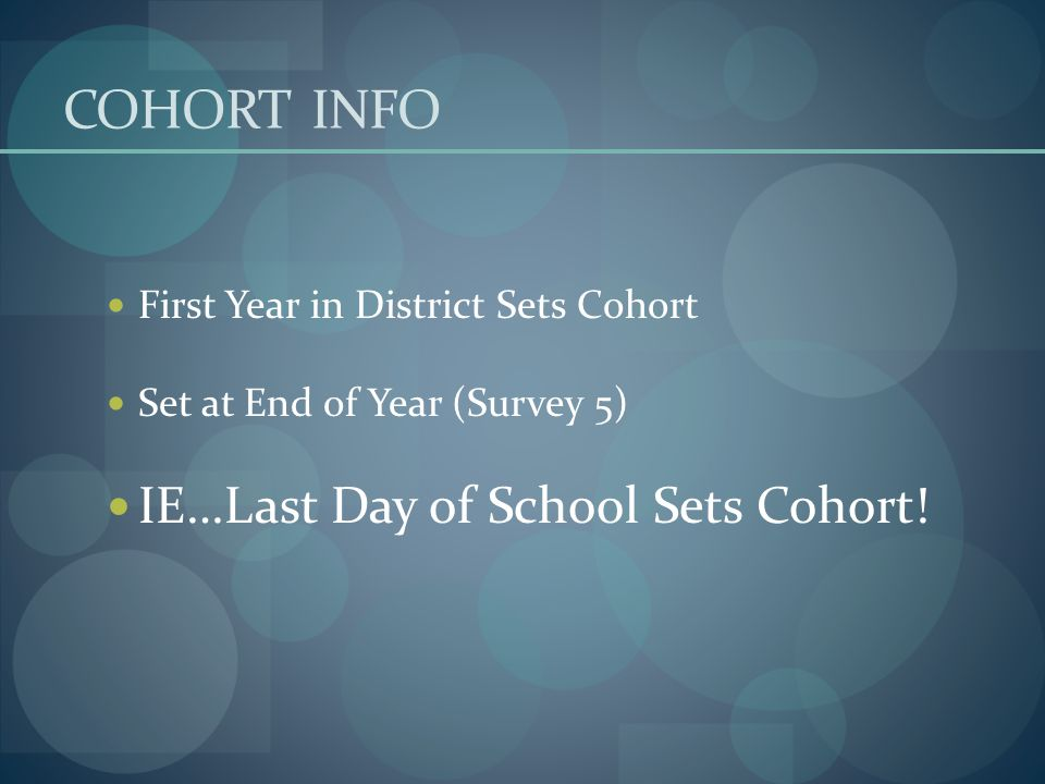 COHORT INFO First Year in District Sets Cohort Set at End of Year (Survey 5) IE…Last Day of School Sets Cohort!
