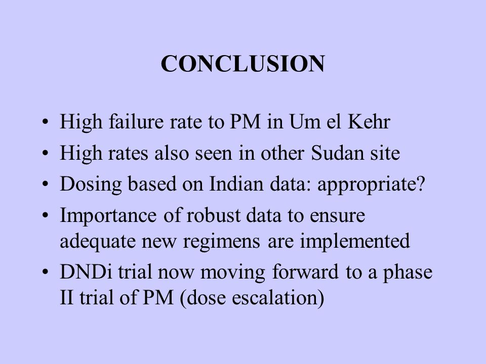 CONCLUSION High failure rate to PM in Um el Kehr High rates also seen in other Sudan site Dosing based on Indian data: appropriate.
