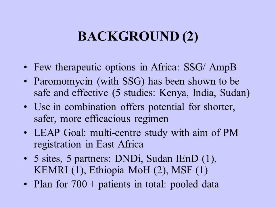 OUTCOMES (Intention to treat) Cure rates (n and %) SSGPMSSG/ PM Um el Kher (Sudan) 24/30 (80%) 10/30 (33%) 26/30 (87%) Kassab (Sudan) 14/15 (93%) 9/15 (60%) 12/15 (80%) KEMRI (Kenya) 10/10 (100%) 11/11 (100%) 10/11 (91%)