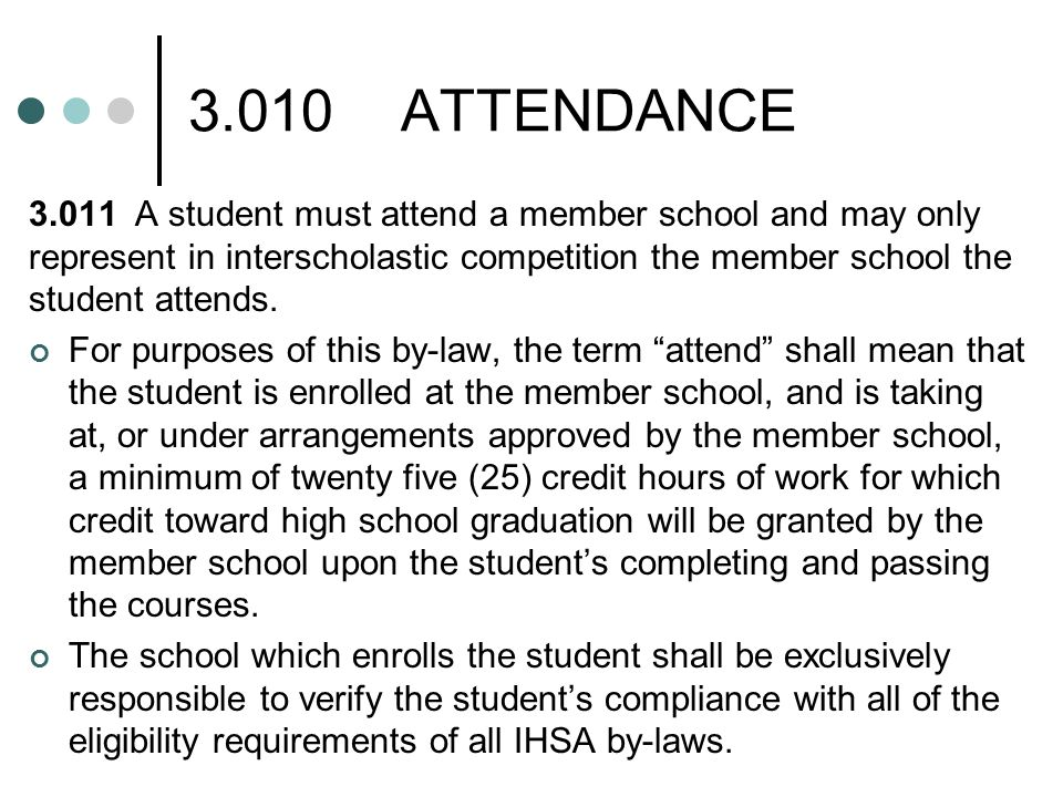 3.010ATTENDANCE 3.012They shall have been enrolled and in attendance not later than the beginning of the eleventh school day of the semester.