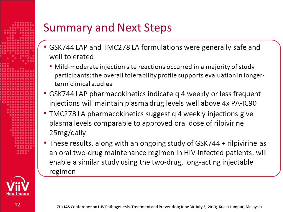 7th IAS Conference on HIV Pathogenesis, Treatment and Prevention; June 30-July 3, 2013; Kuala Lumpur, Malaysia Summary and Next Steps GSK744 LAP and T