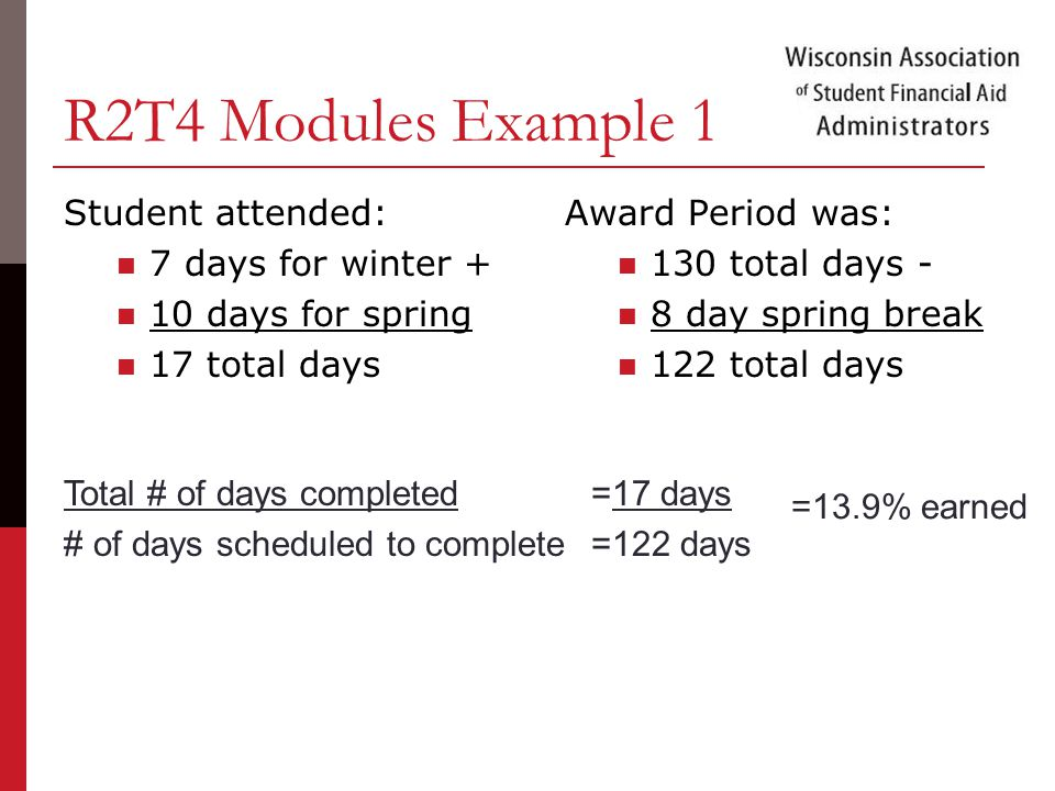 R2T4 Modules Example 1 Student attended: 7 days for winter + 10 days for spring 17 total days Award Period was: 130 total days - 8 day spring break 122 total days Total # of days completed=17 days # of days scheduled to complete=122 days =13.9% earned