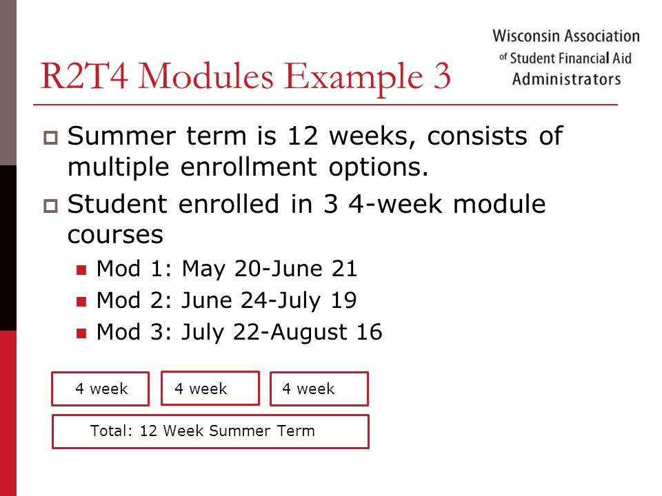 R2T4 Modules Example 3  Summer term is 12 weeks, consists of multiple enrollment options.