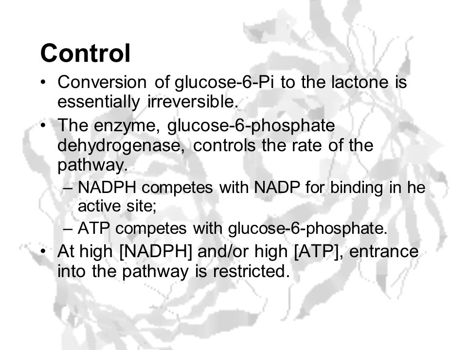 Control Conversion of glucose-6-Pi to the lactone is essentially irreversible.