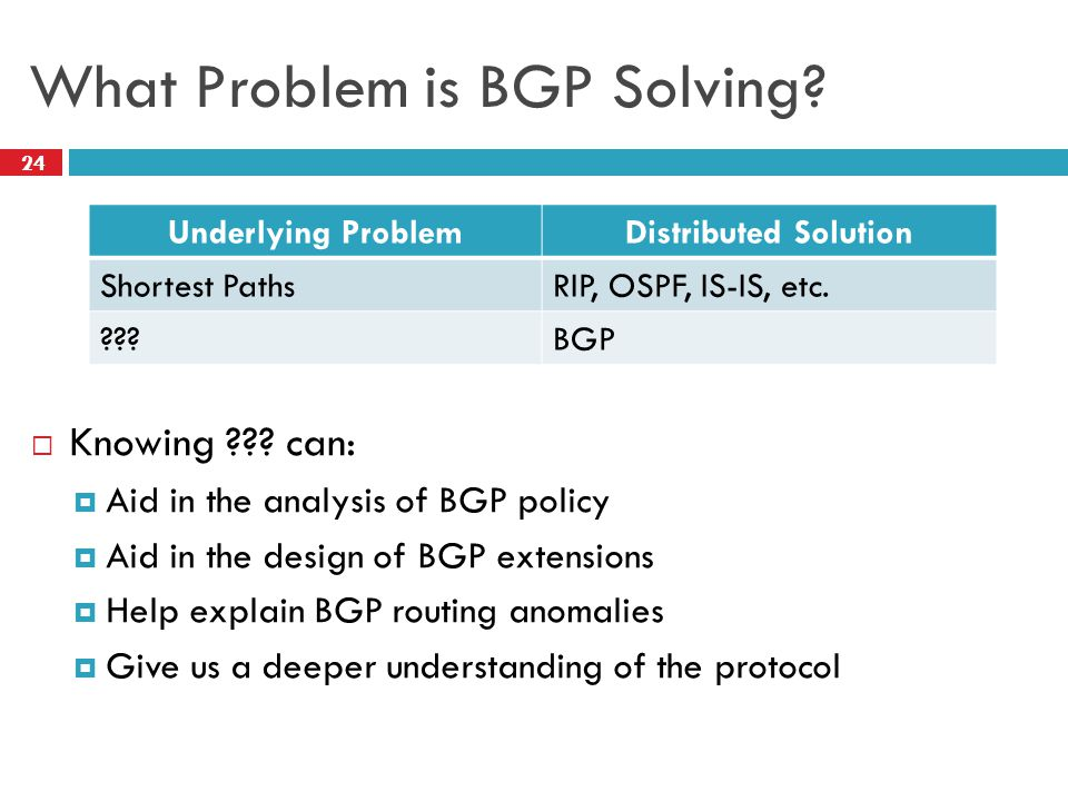 24 What Problem is BGP Solving.